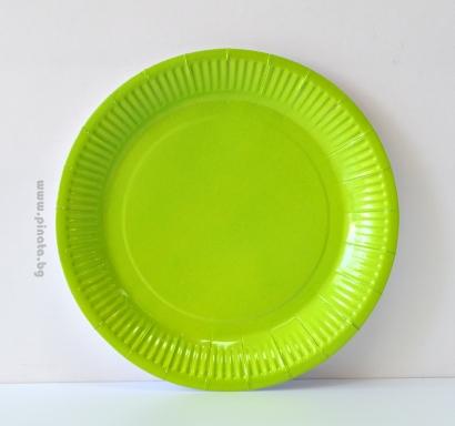 Хартиена парти чинийка, 23 см диаметър зелена