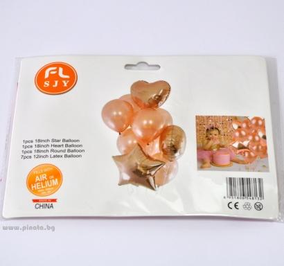 Комплект 10 бр. розово злато балони  - 3бр фолио, 7бр пастел