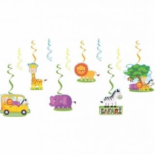Висяща декорация, гирлянд Сафари, животни, джунгла, 6 фигури с лента за окачване