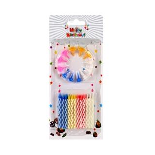 Свещички Рожден ден / Happy Birthday, 24 броя с поставки, различни цветове