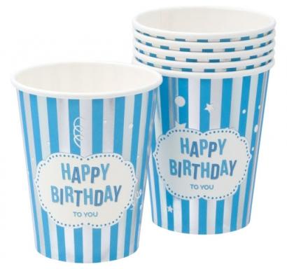 Хартиена парти чашка Честит Рожден Ден синя и сребро 270 мл, 6 бр. в пакет