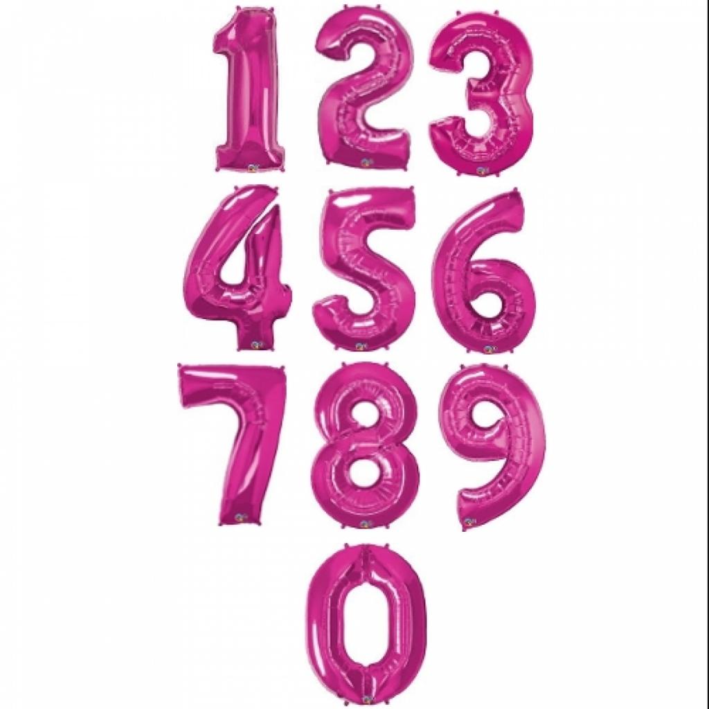 Фолиев балон цифра 0-9, цвят циклама 43,3х31см