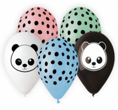 Комплект 5 бр. балони с печат Панда, микс цветове Gemar /Gd/
