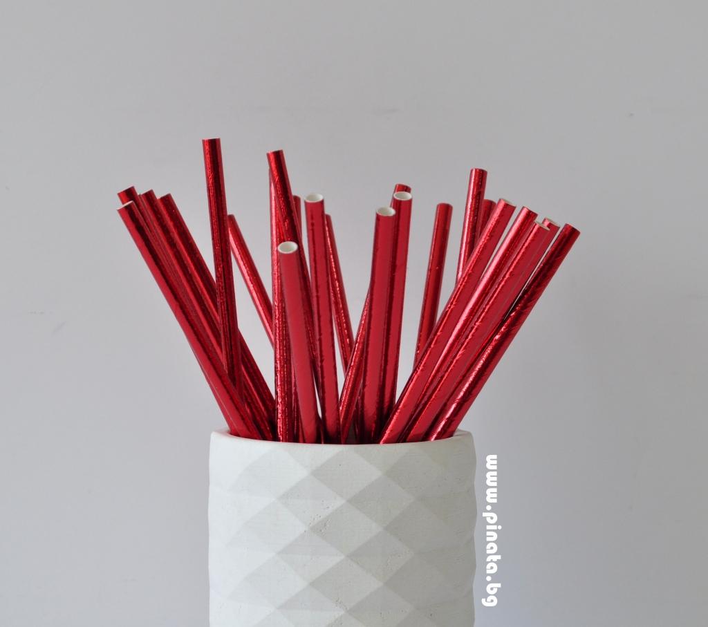Сламки червени металик еко, 25 бр опаковка