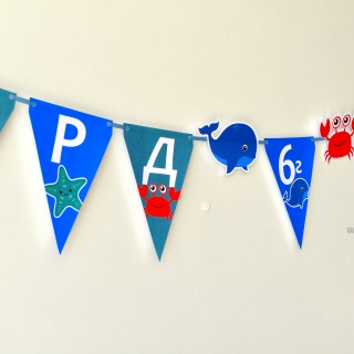 Персонализиран банер Честит Рожден Ден Морско дъно, с включени 2 бр. фигури бонус