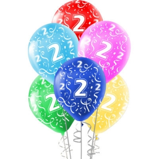 Комплект 10 бр. латексови балони с печат цифра 2, микс цветове