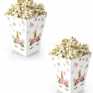 Кутийки за пуканки или сладки Еднорог, 8 бр. в пакет