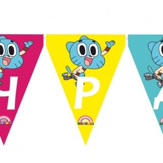 Персонализиран банер Честит Рожден Ден Гъмбол с включени две флагчета бонус