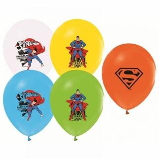 Балон с печат Супермен, диаметър 30 см, 5 бр. в пакет микс, лицензирани