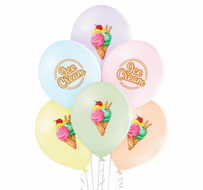Комплект 6 бр. премиум балони с печат Сладолед / Icecream, микс пастелни цветове Belbal /Gd/