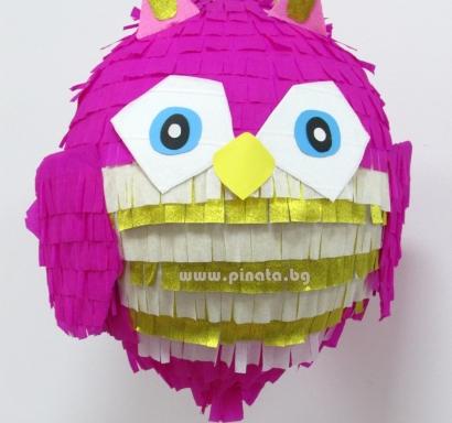 Пинята розов Бухал диаметър 40 см / OWL Pinata