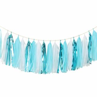 Гирлянд от 20 бр. тасели бебе момче, лъскави сини и бели цветове, 36х250см /Gd/