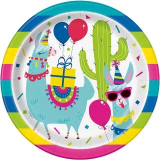 Хартиена парти чинийка  Лама Рожден Ден 23 см, Llama Birthday