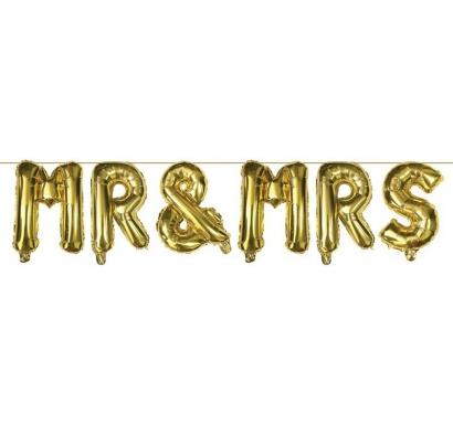 Фолиев балон букви Господин и Госпожа Младоженци / Mr and Mrs, 300х35см, цвят злато