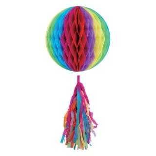 Висяща декорация - 1 бр. декоративна топка с пискюл, цвят дъга 25 см диаметър