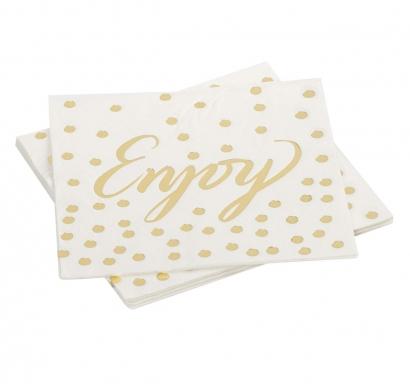 Парти салфетки бели със златни блестящи точки и надпис Enjoy, 12 бр в пакет