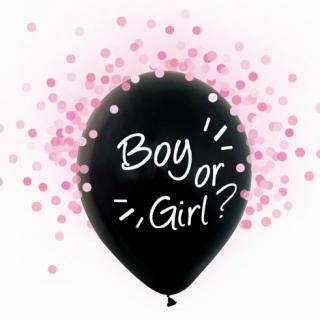 """Балон за разкриване пола на Бебето """"Момче или Момиче"""" / """"Boy or Girl?"""" - 30 см. 4бр. в опаковка, с включени розови конфети"""