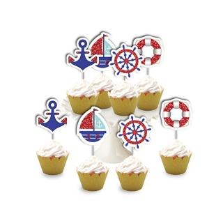 Топер за мъфини морска тема, кораб, котва, 8 бр. в опаковка