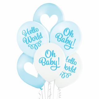 Комплект 6 бр. премиум сини и бели балони в нежни пастелни цветове, с печат Oh Baby и Hello World, бебе момче/ /Gd/
