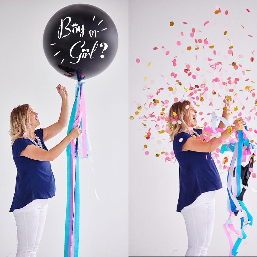 """Балон за разкриване пола на Бебето """"Момче или Момиче"""" / """"Boy or Girl?"""" - 45 см., с включени сини конфети"""