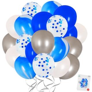 Комплект 20 бр. латексови балони с блестящи конфети, цвят син мрамор, бял и сребро