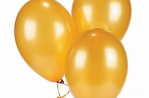 Балон златен металик, диаметър 30 см, 10 бр. в пакет