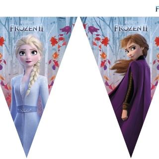 Банер гирлянд за декорация Елза и Ана Замръзналото кралство 2, 11 флагчета, 3,20 м дължина