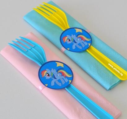 Парти комплект салфетка и вилица Малкото Пони, 5 бр. пакет