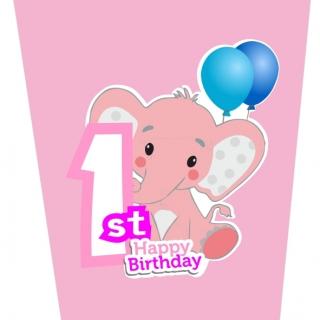 Хартиена парти чашка 250 мл Слонче Първи рожден ден момиче цвят розов / First Birthday Elephant, 8 бр. в опаковка