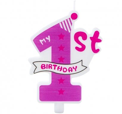 Свещичка за рожден ден, цифра едно, момиче, първи рожден ден цвят розов