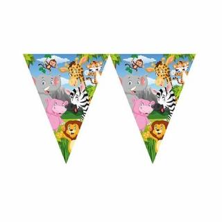 Банер гирлянд за декорация Сафари, джунгла, животни, 3,20 м дължина, 11 бр. флагчета