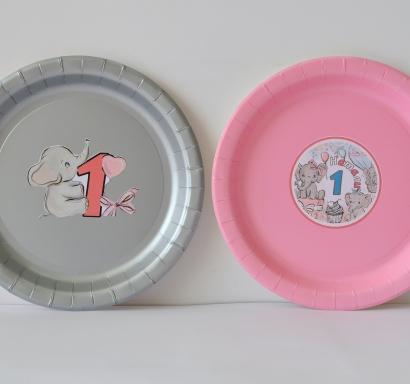 Персонализирана хартиена парти чинийка Бебе слонче рожден ден, 5бр. пакет