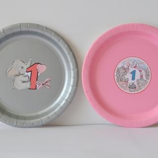 Персонализирана хартиена парти чинийка Бебе слонче рожден ден
