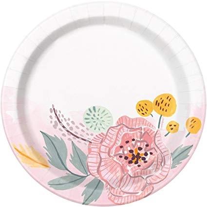 Хартиена парти чинийка Флорални рисувани цветя 18 см, Painted Floral