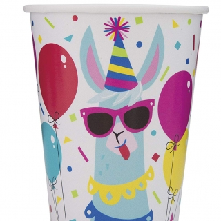 Хартиена парти чашка Лама Рожден Ден  250 мл, Llama Birthday