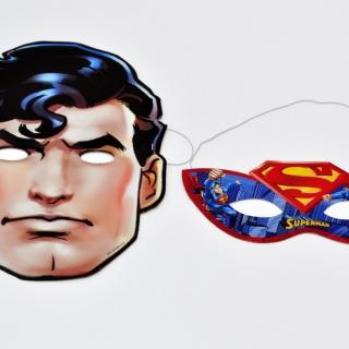 Парти маски Супермен, 6 бр пакет, лицензирани DC Comics