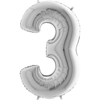 "Фолиен балон цифра 3 цвят сребро - 102 см височина /40""/"