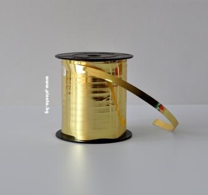 Лента за връзване на балони златна блестяща /10 метра/