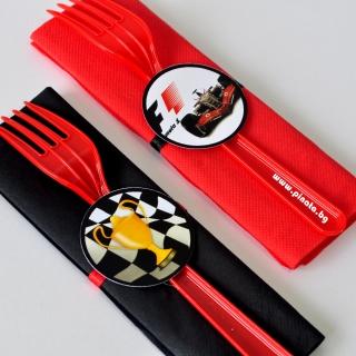 Парти комплект салфетка и вилица Формула 1, 5 бр. пакет