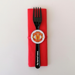 Парти комплект салфетка и виличка Манчестър Юнайтед 33х33 см