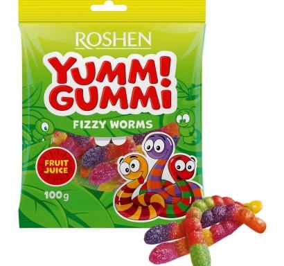 Пакет желирани бонбони Рошен  Газирани червейчета / Fizzy Worms 100 гр.
