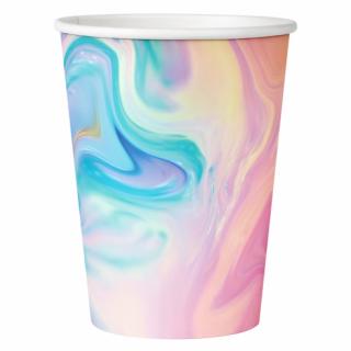 Хартиена парти чашка Пастел мрамор / Pastel  200 мл, 6 бр. в опаковка /Gd/