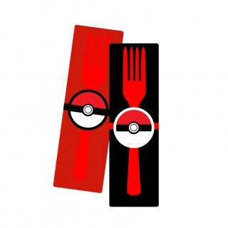 Парти комплект салфетка и вилица Покемон, 5 бр. пакет