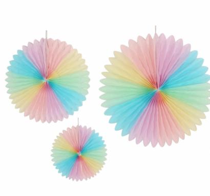 Висяща декорация - 3 бр. ветрило, пастелни цветове дъга, диаметър 20,30 и 40 см /Gd/
