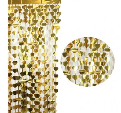 Ресни за декорация  във форма на сърца /ПВЦ/ лъскави, цвят злато 100х180см