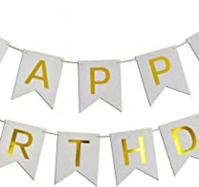 Банер комплект Happy Birthday / Честит Рожден Ден, сребърен брокат с златни букви