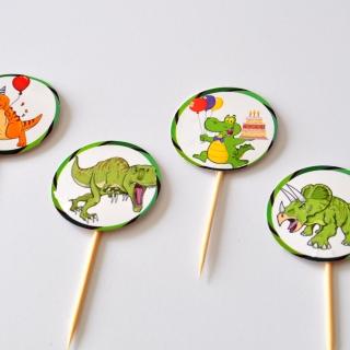 Топер за мъфини Динозаври, 20 бр. в опаковка