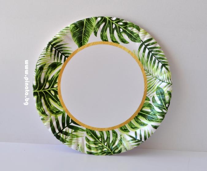 Хартиена парти чинийка Зелени листа със злато, 23 см